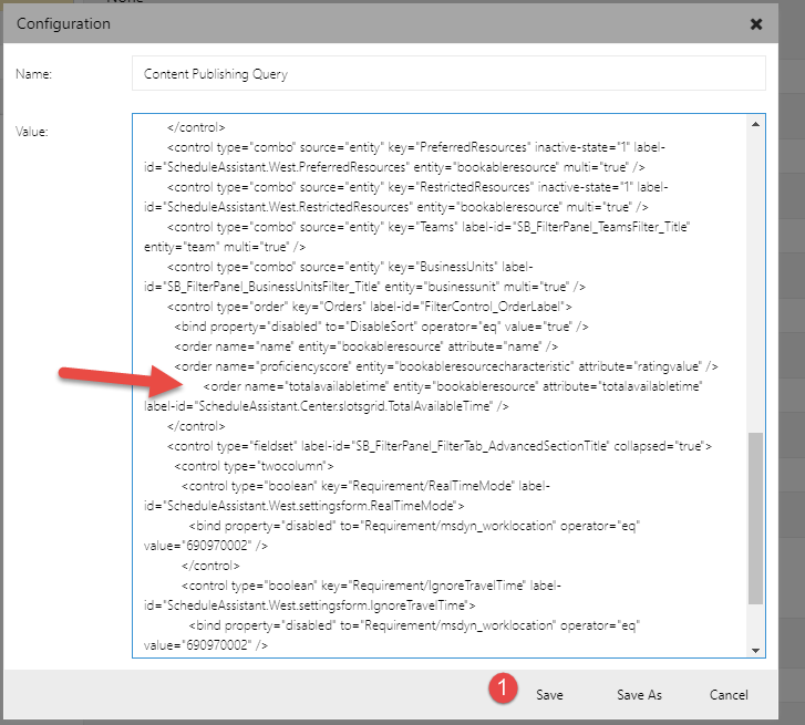 Select and paste query in the new configuration record