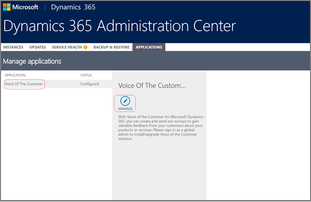 Manage application in Dynamics 365 Administration Center