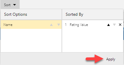 Click Apply to execute sort options