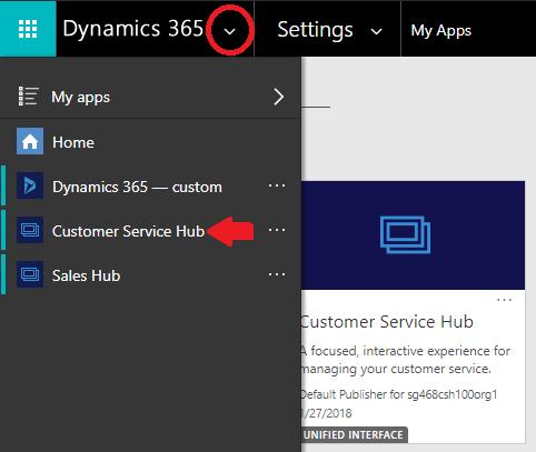 Launch Customer Service Hub app from Navigation