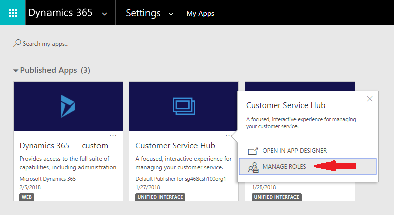 Manage roles from the My Apps page