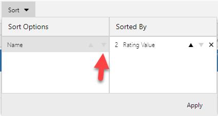 Use Ascending or Descending arrows to select a sort option