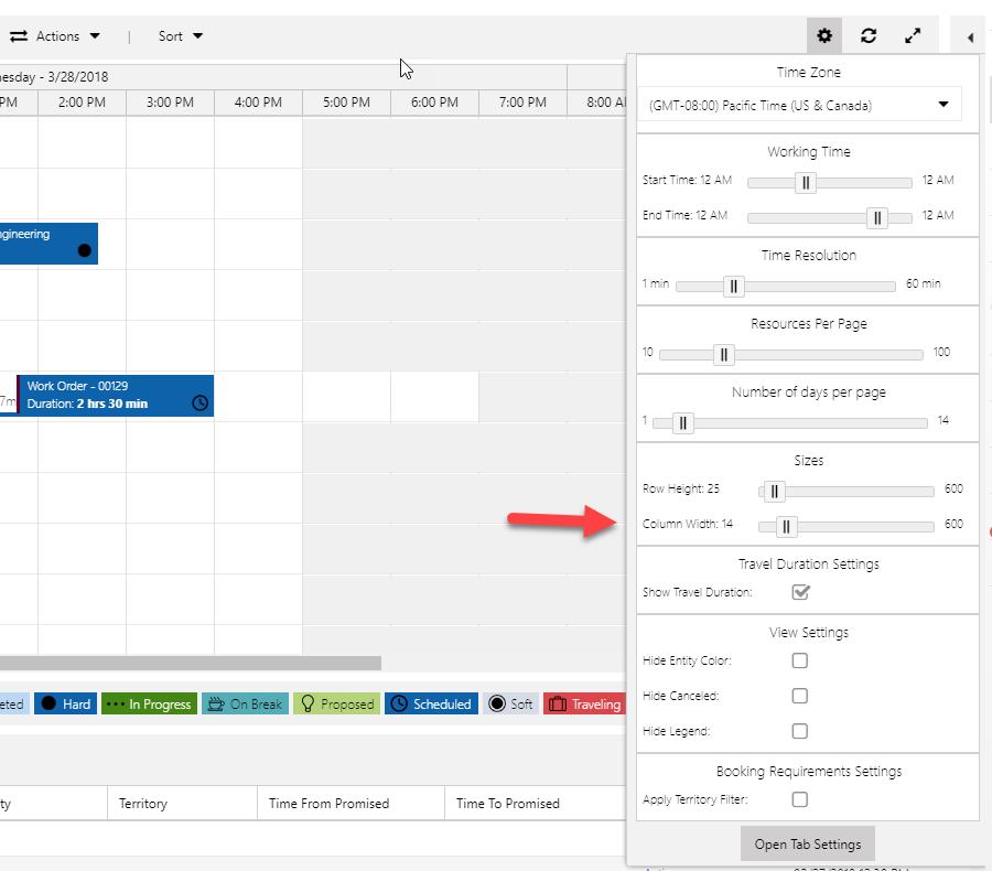 Access column width settings from Settings drop down on schedule board