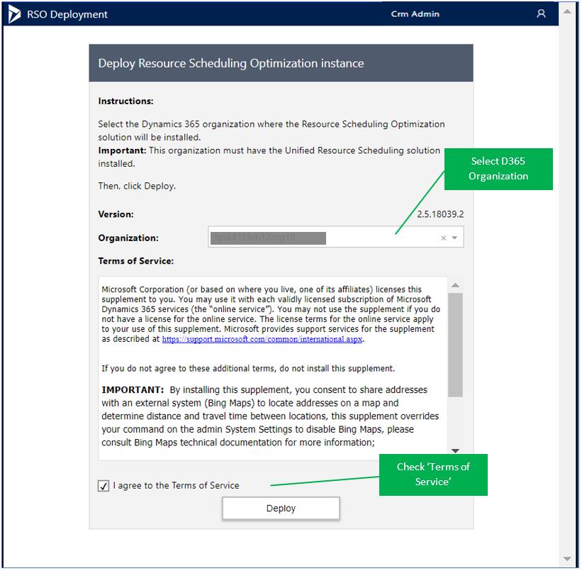 Deploy Resource Scheduling Optimization instance
