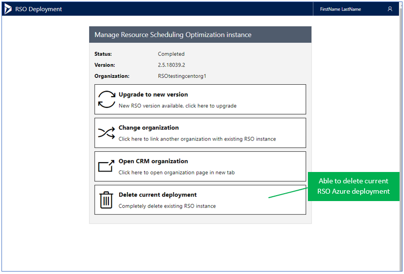 Manage Resource Scheduling Optimization instance