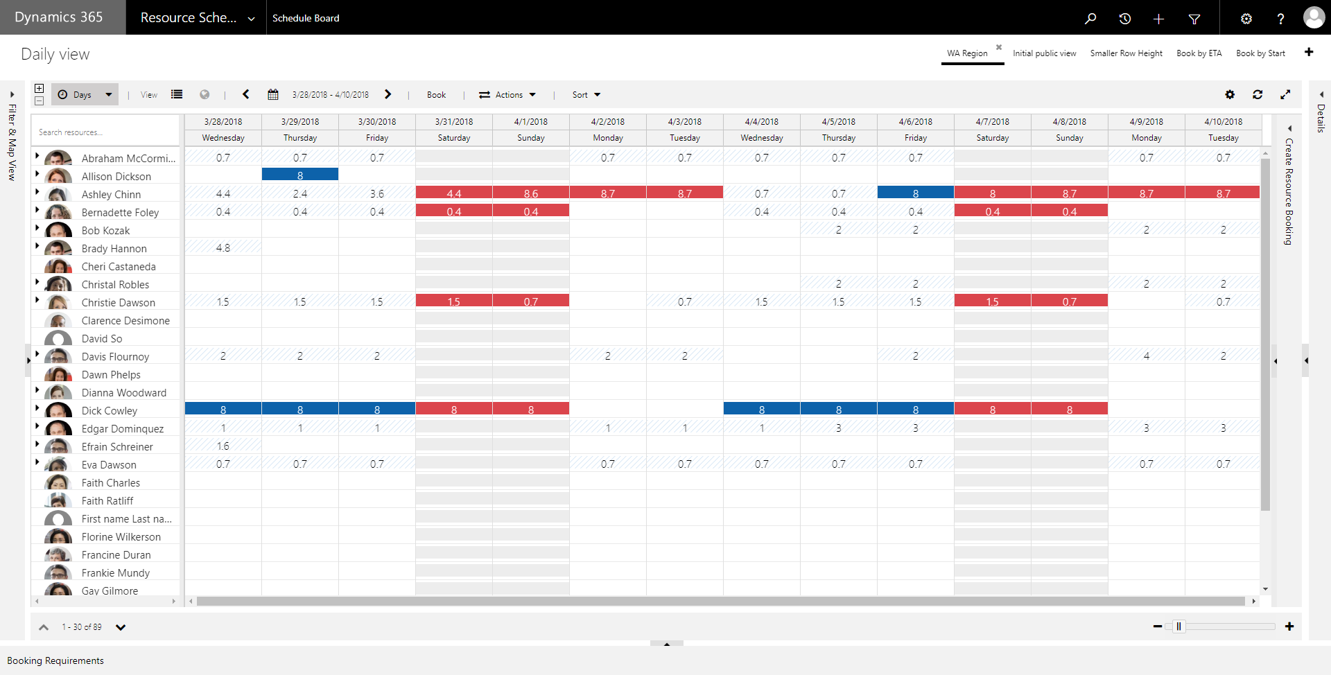 Adjust the height of the resource rows on daily, weekly, or monthly views