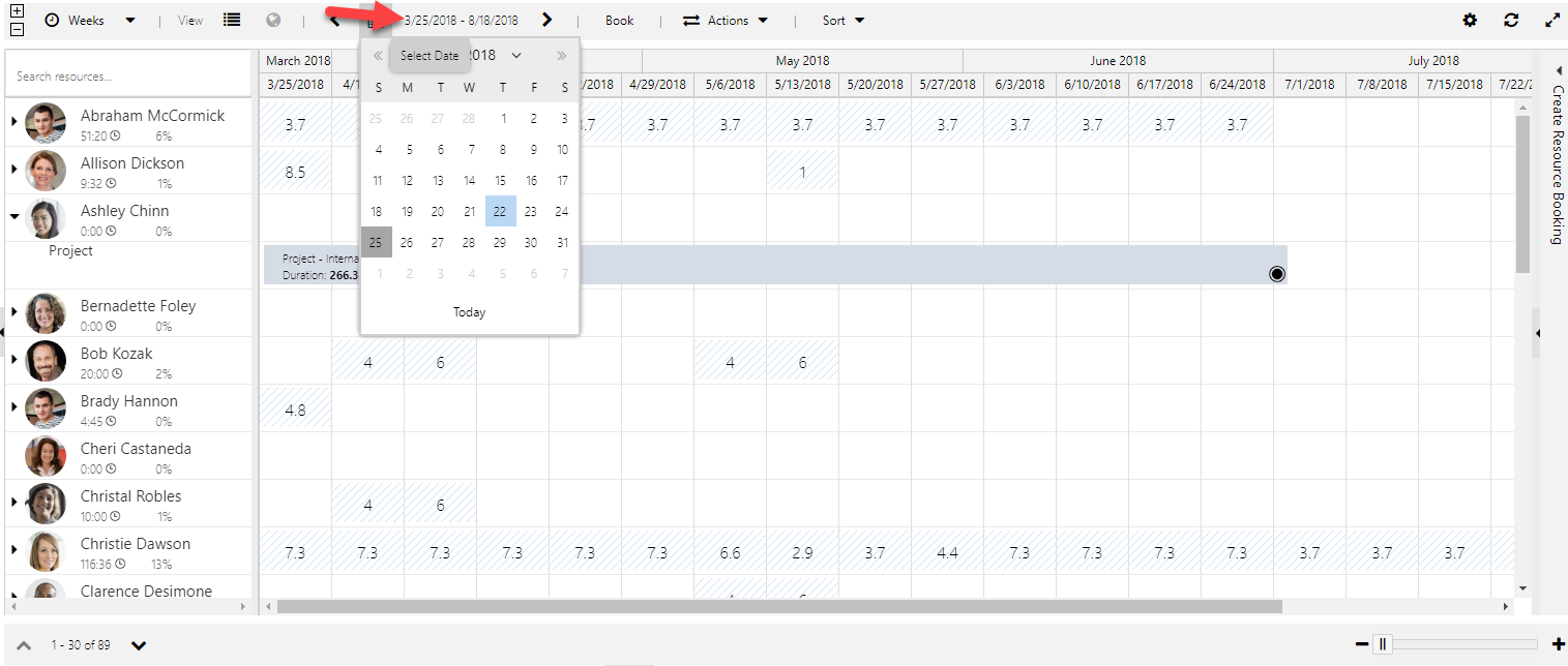 To change status of a subset of bookings, zoom into the date range and make the change