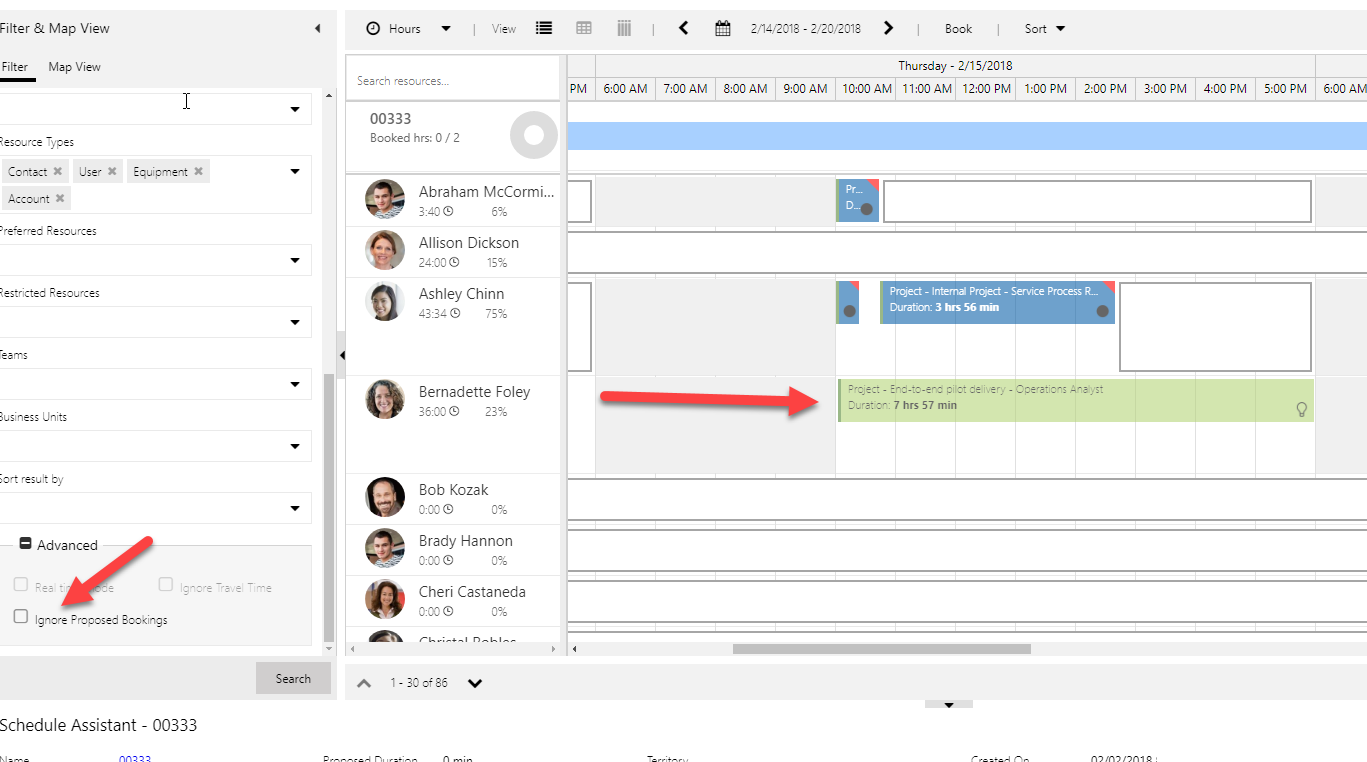 Ignore Proposed Bookings check box in the filter panel