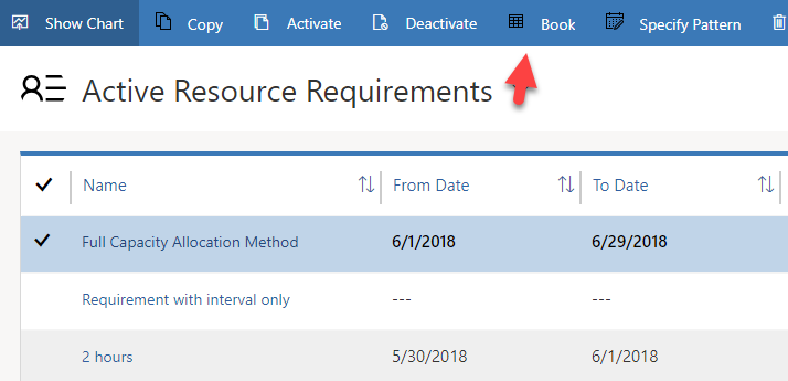 "Image of ""Book"" on ribbon of requirement view with one requirement selected"