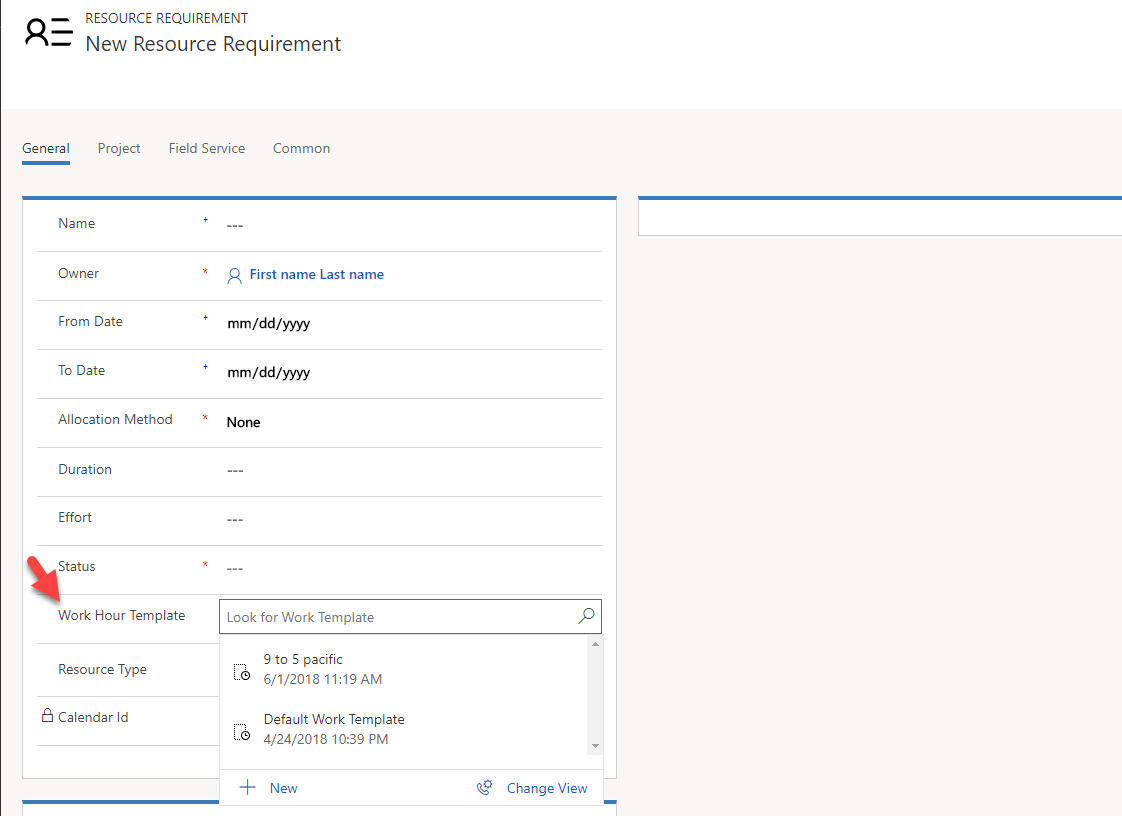 Image of resource requirement form with work hours template field displayed