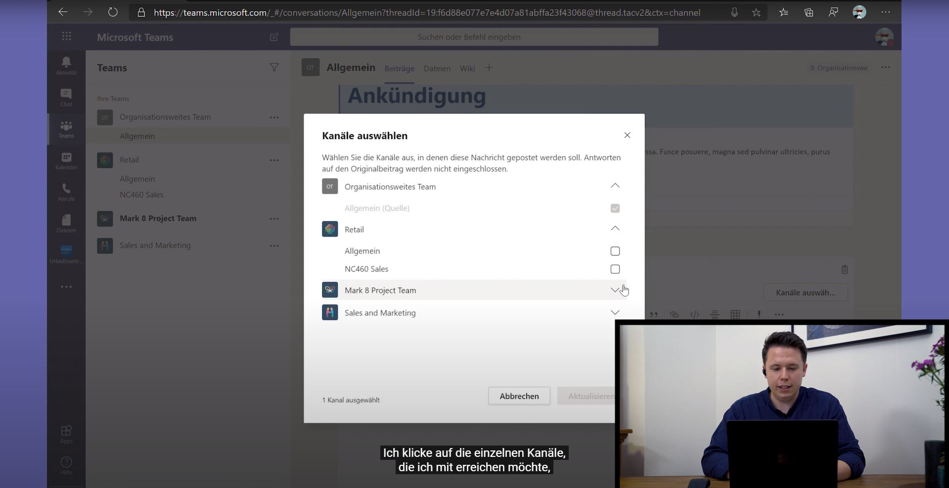 Video Vorschaubild Postings in mehreren Channels und Teams