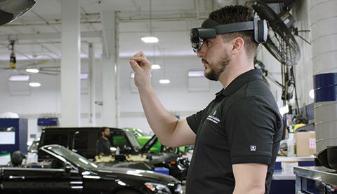 Man working with HoloLens