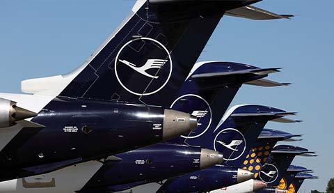The rear part of several Lufthansa airplanes