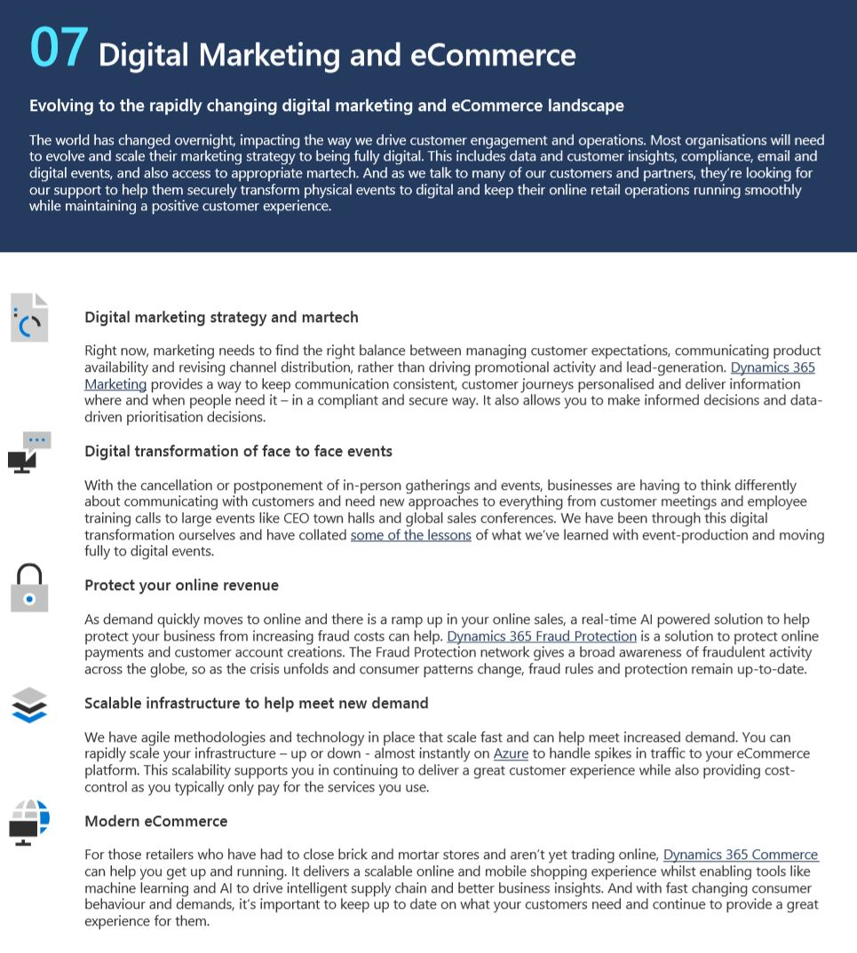 Link to Microsoft's Resilient Operations Report, focussing on the Digital Marketing and eCommerce page (page 7).