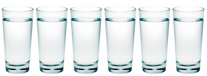 A photo of several glasses of water