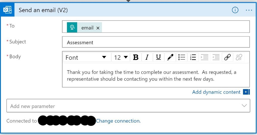 An email being drafted in the 'Send an email' dialog.