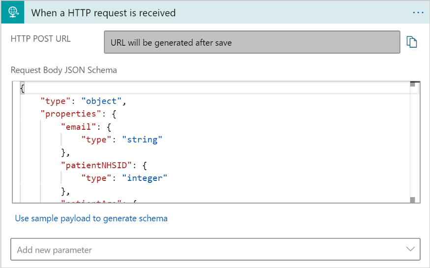 A screenshot of how the Request Body JSON Schema should look.