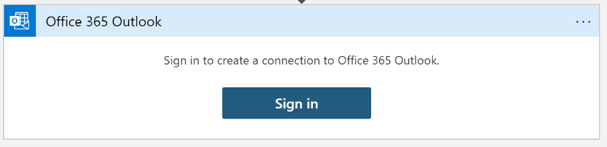 A screenshot showing the need to sign in to create a connection to Office 365 Outlook.