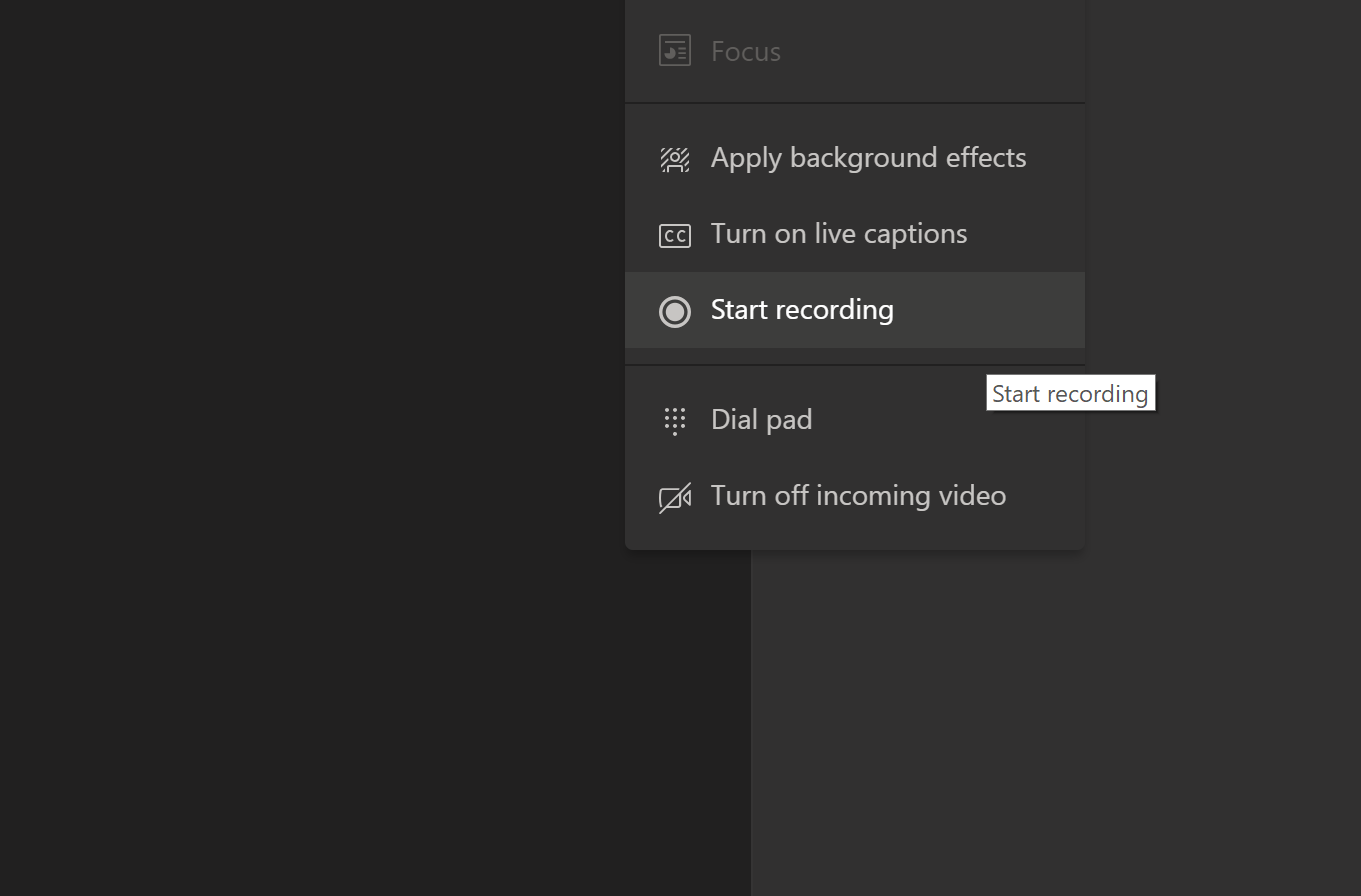 Screenshot of how to record a Microsoft Teams meeting