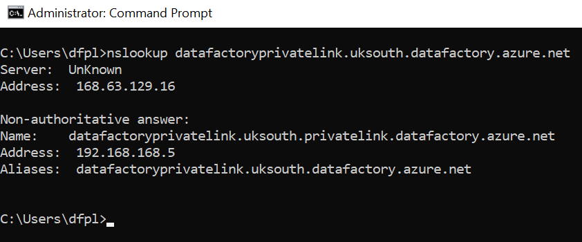 A screenshot of command prompt showing DNS resolution in Azure Data Factory