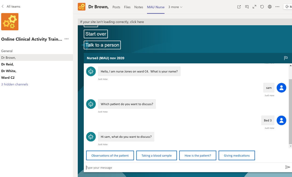 Screenshot of the role specific chatbot at UCLan