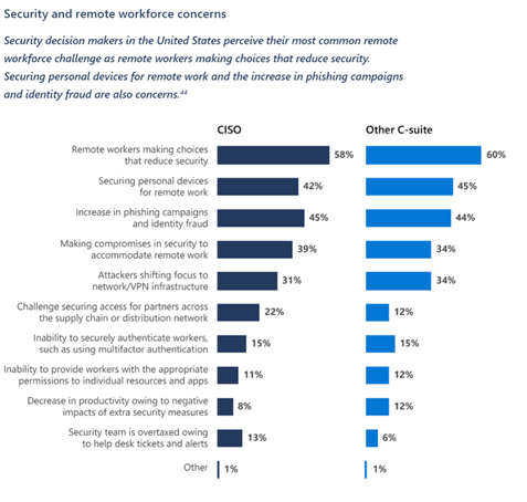 A graph showing the top concerns for the secure and remote workforce.