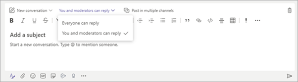 A screenshot of chat options from Microsoft Teams