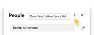 A screenshot of downloading attendance list from Microsoft Teams