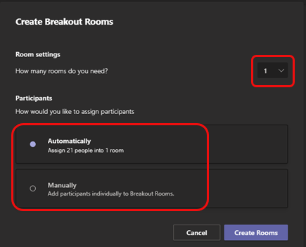 A screenshot of Breakout Room options from Microsoft Teams