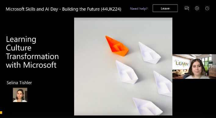 Learning to build a culture transformation at Microsoft PowerPoint slide.