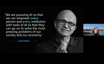 A picture of Satya with a quote on ethical AI