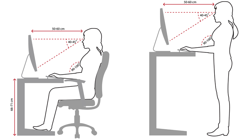 Line drawing showing the correct ergonomic sitting and standing posture when using a desktop computer.