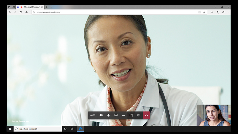 Photograph of a female physician speaking to a patient using the video conferencing features in Microsoft Teams