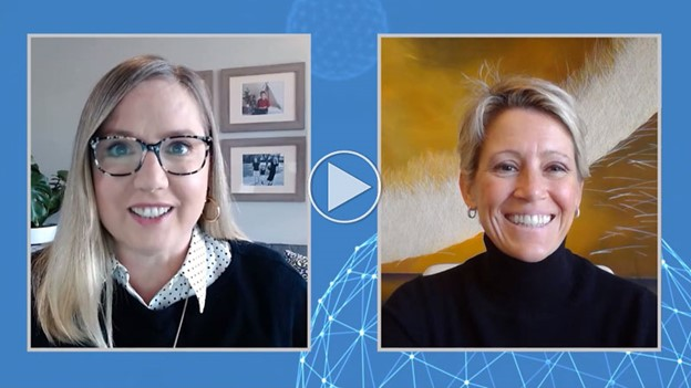 """Screen grab of Hilary Zaborski and Sharon Shoenborn from their """"Helping SMBs build business resilience"""" session from Microsoft Canada's Future Now 2020."""