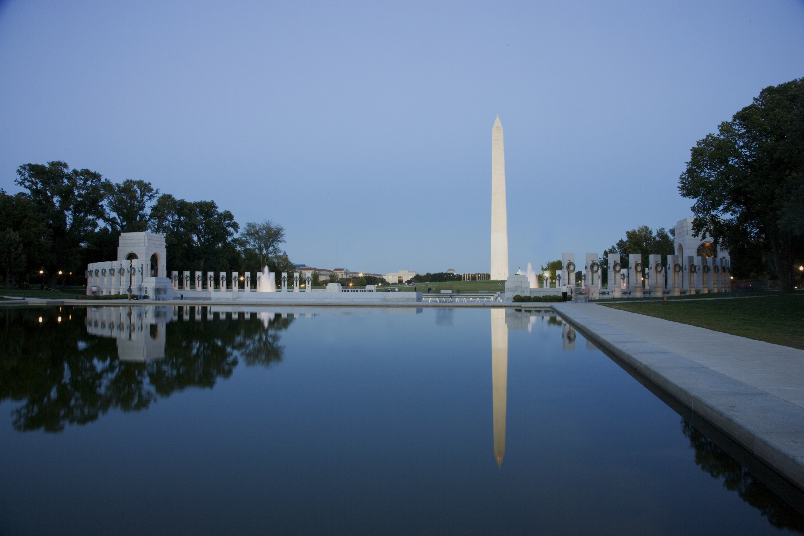 Reflecting Pool on the National Mall with the Washinton Monument.