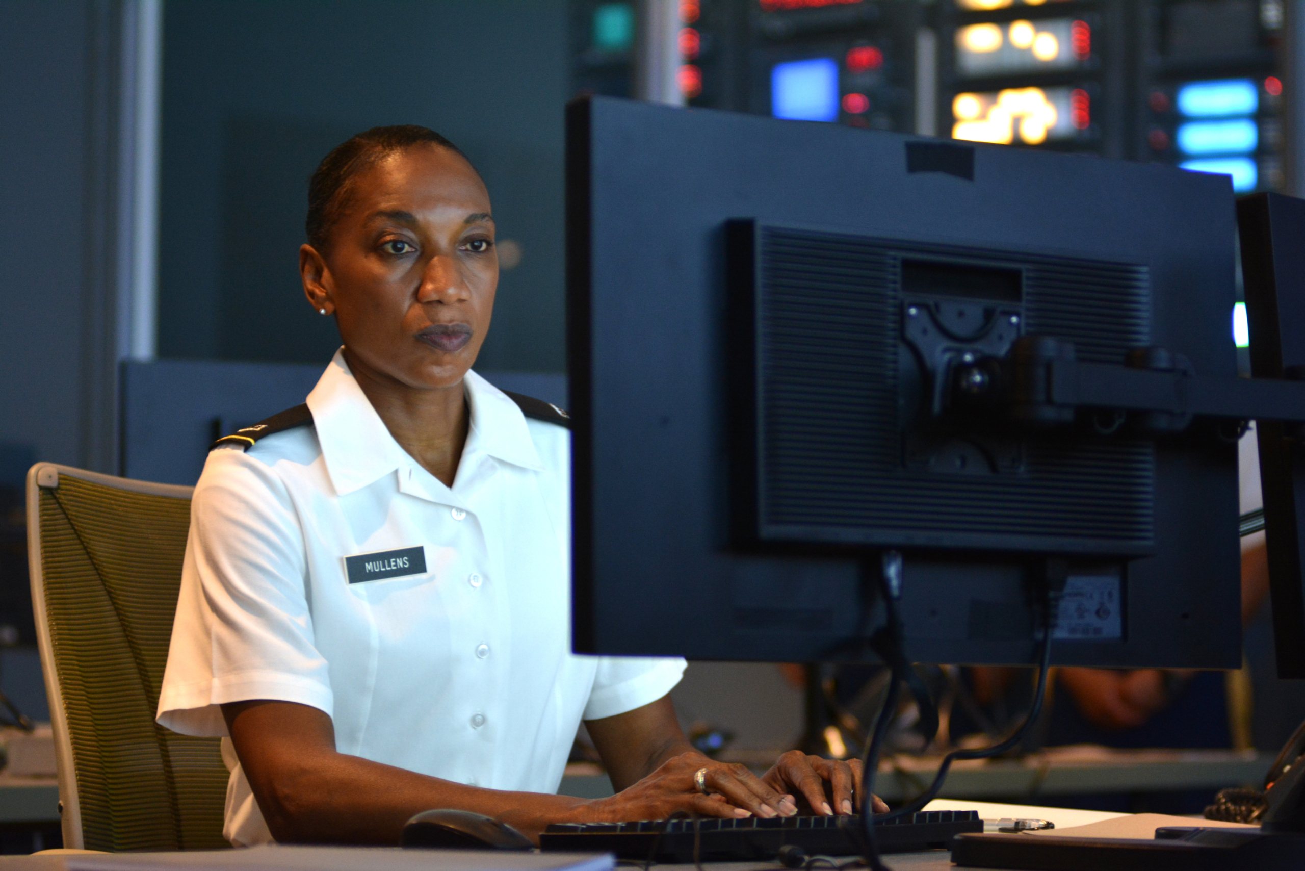 Photo of Chief Warrant Officer 4 Sharon Mullens taken for October 2016 national recruiting advertisement featuring Army cyber Soldiers..