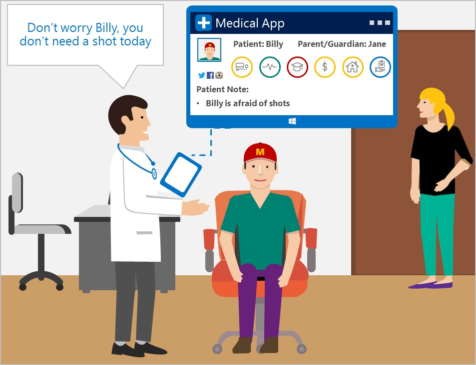 Doctor using app with patient