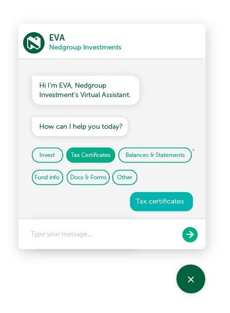 The EVA assistant helps Wealth Management Services clients looking for quick answers.