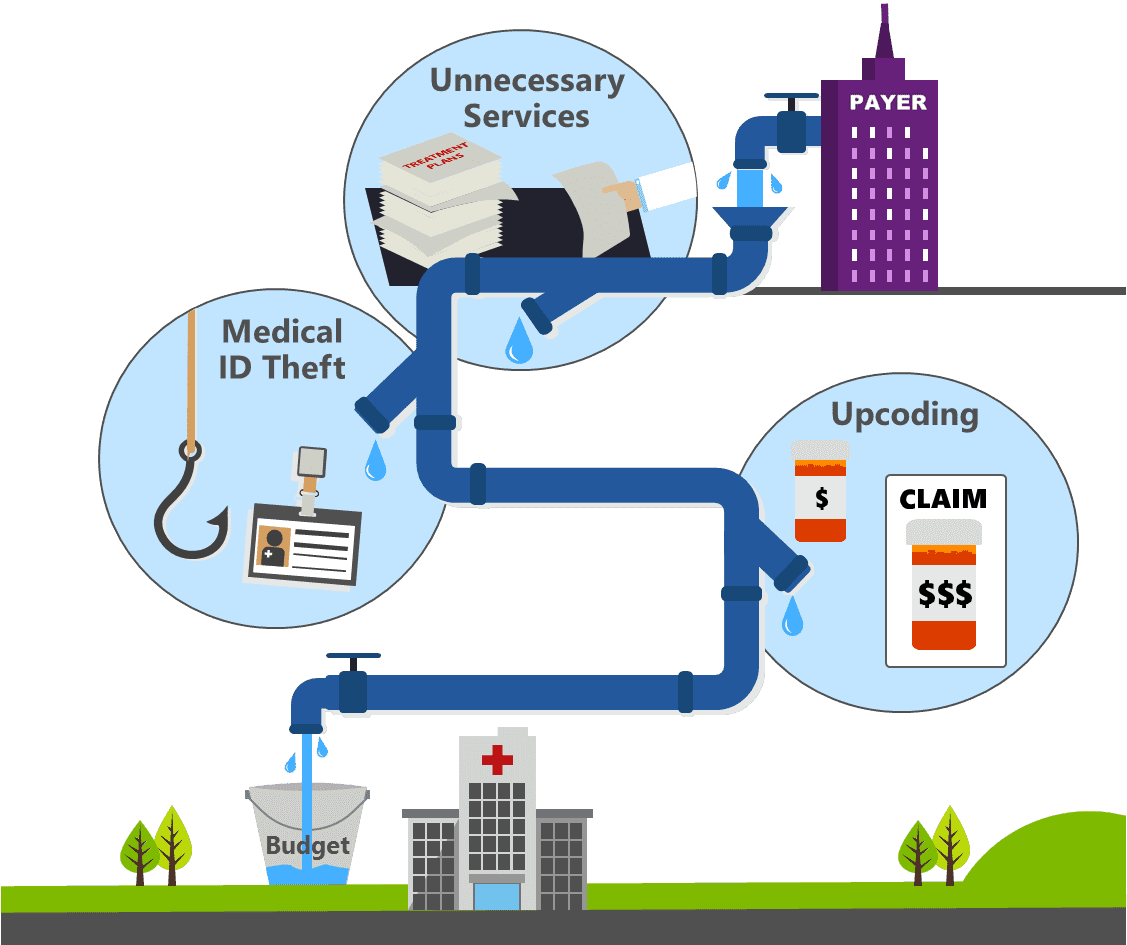 Healthcare fraud infographic of the flow from the payer to the wasted budget of hospitals