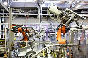 robots in a car factory