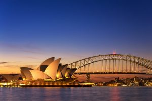 View of Sydney Opera house and Syndey Harbour bridge