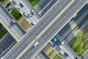 Aerial view of cars driving on a highway
