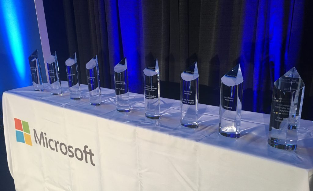 Health innovation award trophies
