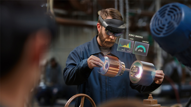 Man using hololens in a factory setting