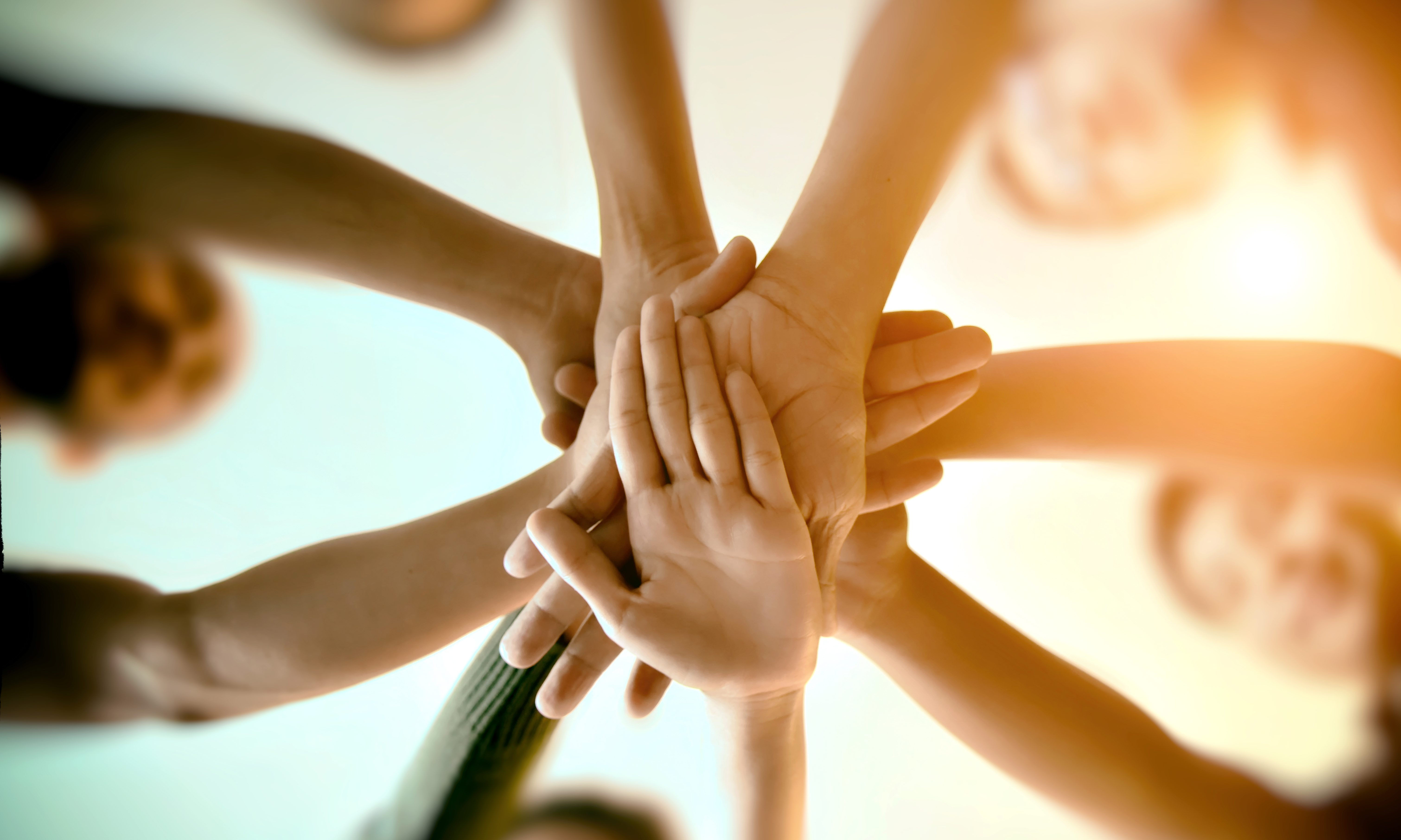 Group of people connecting hands in a show of teamwork