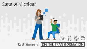 "Woman holding a Surface. Young boy sitting down playing with an airplane. ""State of Michigan"": ""Real Stories of Digital Transformation."""