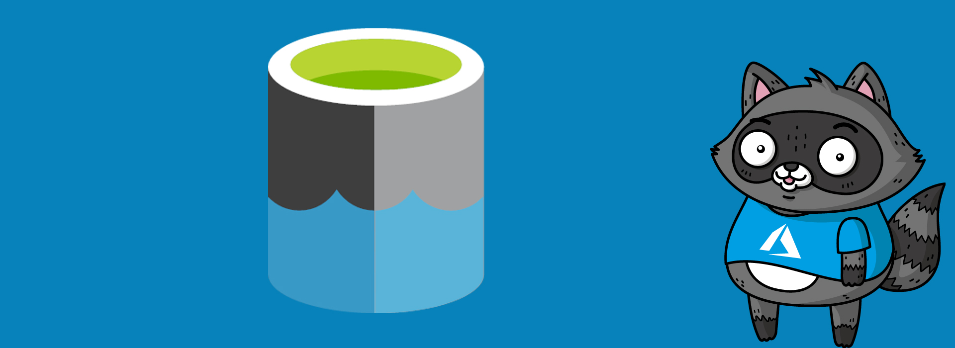 The Azure Data Lake Storage logo on a blue background, next to a picture of Bit the Raccoon.