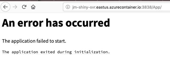 A screenshot of an error message that says an error has occurred and the application failed to start.