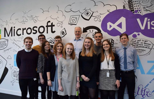 The first Microsoft Uk interns gather for a photo