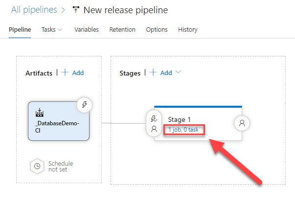 The 'New release pipeline' section of Azure DevOps with the Stage 1 section in view, showing it has 1 job and 0 tasks.